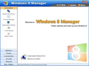 Windows 8 Manager, programa para optimizar y reparar Windows 8